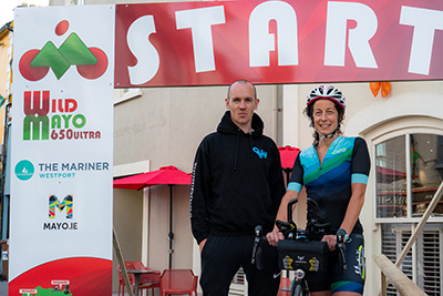 Anthony Murray Westport Bike shop and Rachel Nolan discuss the Mayo Ultra events