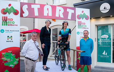 L to R Cllr Christy Hyland, Anna Connor Mayo.ie, Rachel Nolan Ballina Event ambassador and CLLR Peter Flynn at the launch of the Mayo Ultra cycling events.